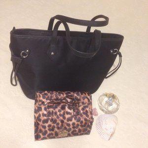 Like new Joy Mangano Tote & cosmetic bag
